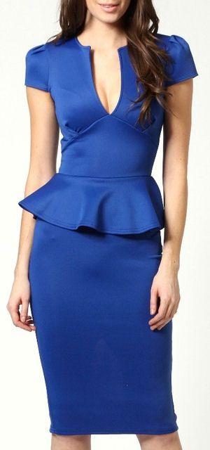 Electric Blue Peplum Midi Dress ♥