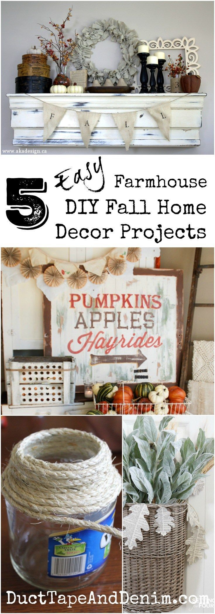5 easy farmhouse DIY fall home decor projects. See more on http://DuctTapeAndDenim.com