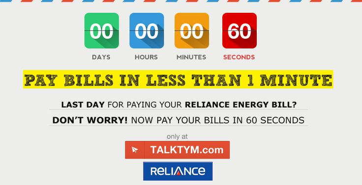 Reliance Energy Bill Payment - Talktym presents an easy way to pay your Reliance postpaid bills, broadband bill, land line phone bill and mobile bills online. It is simple and easy to pay your reliance energy bill with various payment options such as Credit Card, Debit Card, Internet Banking & Talktym e-Wallet. For more information please log on to https://www.talktym.com/reliance-online-bill-payment.php