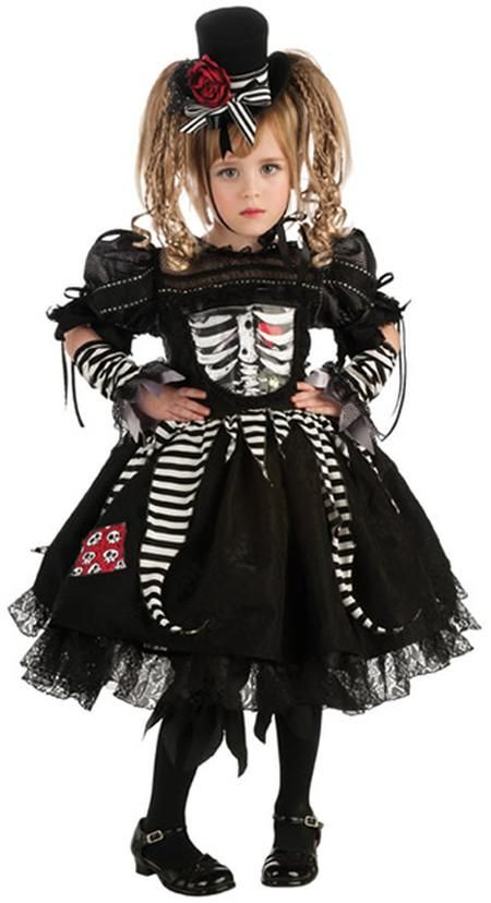 Skeleton Bones Girls #Costume includes skeleton costume dress, pantaloons, glovelets and hat. Stockings and shoes not included.