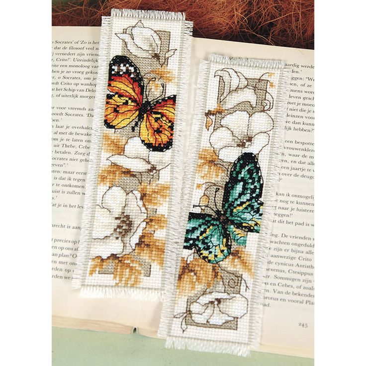 Butterflies and Flowers Bookmarks - Cross Stitch, Needlepoint, Stitchery, and Embroidery Kits, Projects, and Needlecraft Tools   Stitchery