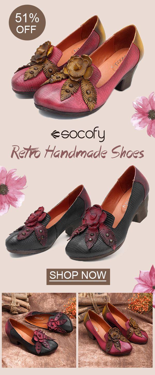 192d7f6fa US 64.80 SOCOFY Retro Handmade Flower Splicing Pattern Slip On Leather  Pumps  FlowerPumps  NewchicShoes  BeautifulShoes  WeddingShoes