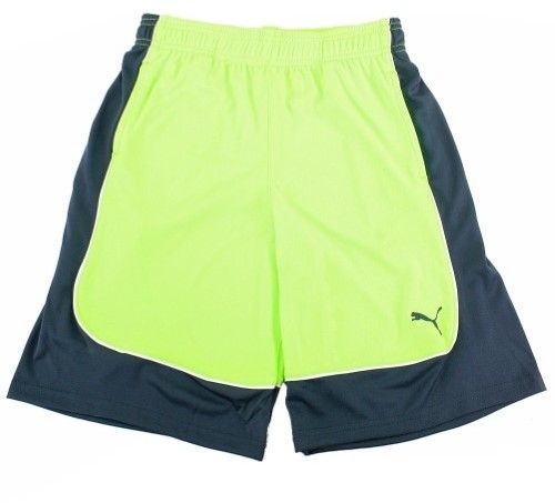 Puma Boy's Active Green/Navy Color Block Athletic Gym Shorts Sz: XL
