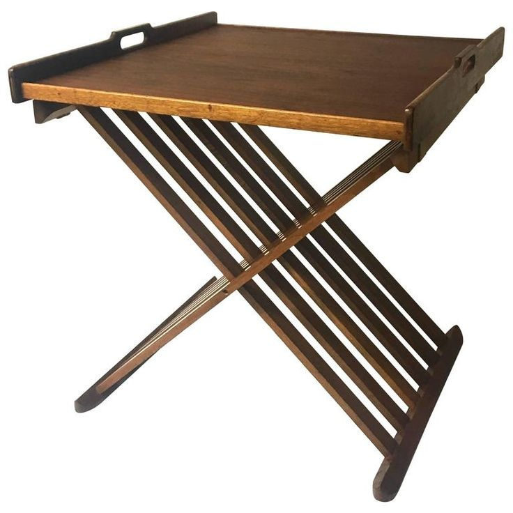 Mid-Century Campaign Style Walnut Folding Table by Kipp Stewart for Drexel | From a unique collection of antique and modern coffee and cocktail tables at https://www.1stdibs.com/furniture/tables/coffee-tables-cocktail-tables/