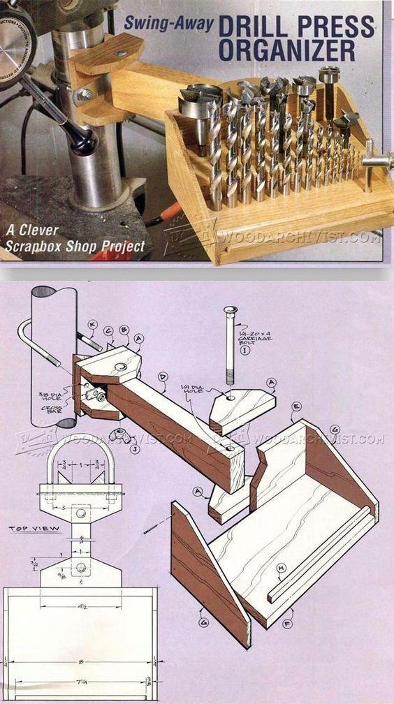 Drill Press Organizer - Drill Press Tips, Jigs and Fixtures | WoodArchivist.com #woodworkingtools #WoodworkingTips
