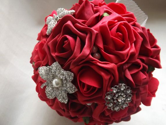 Red Foam Roses Brooch Bouquet Bride Bouquet by LoveToMarryBouquets #roses #bride #bridal #bouquet #roses #redrose #wedding
