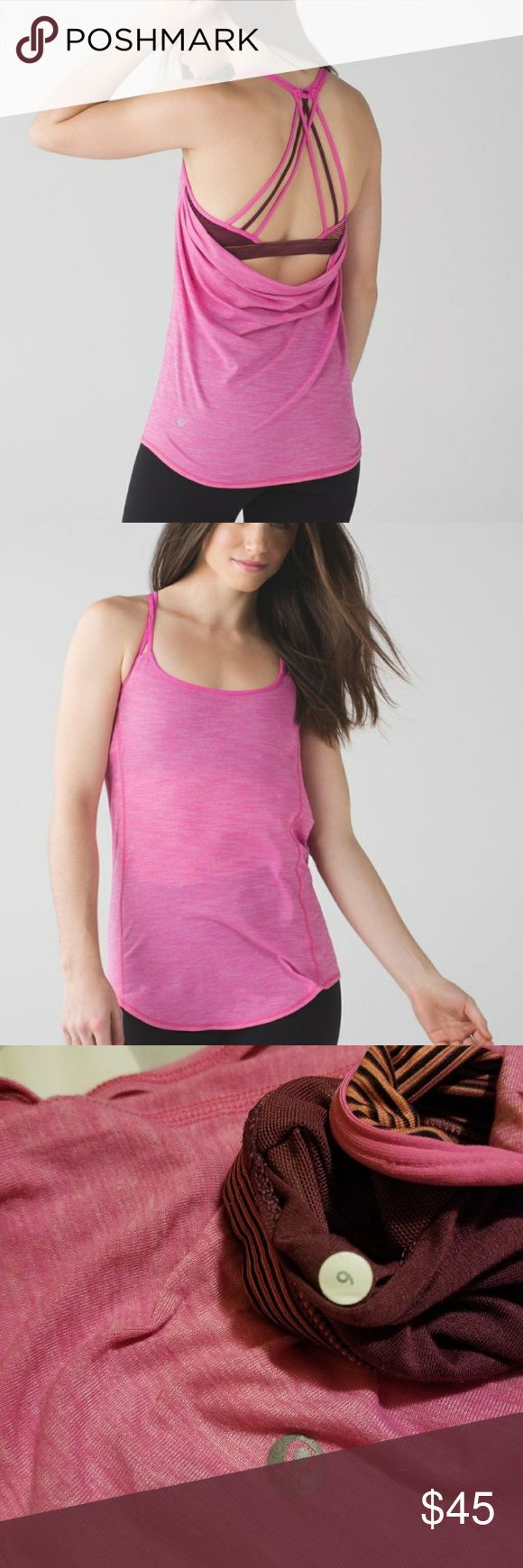 Lululemon Lighten Up Tank Heathered Pink Paradise Lululemon Lighten Up Tank Heathered Pink Paradise/Simply Radiant Pink Paradise Black/Red Grape. Built in bra, no padding. Size 6.  The classic lulu tank with strappy/open back. Super breathable, perfect for yoga or pilates!  Only worn once, in AMAZING condition. Sorry no trades! lululemon athletica Tops Tank Tops