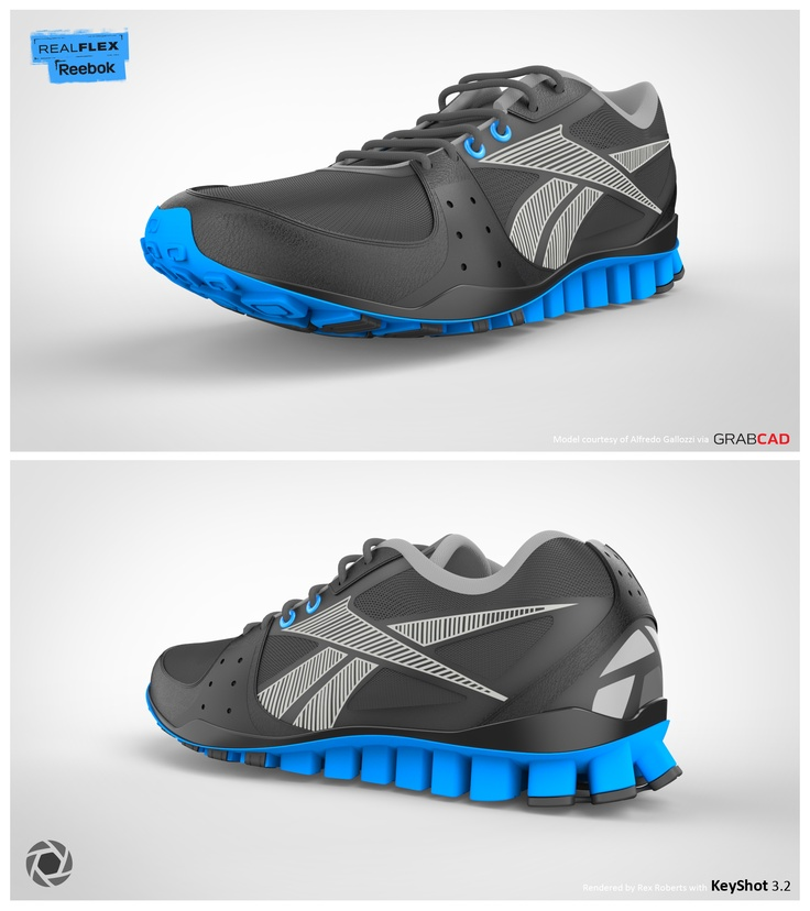 Reebok RealFlex rendered by Rex Roberts. Model via GrabCAD. Scene download here: http://www.keyshot.com/downloads/scenes/
