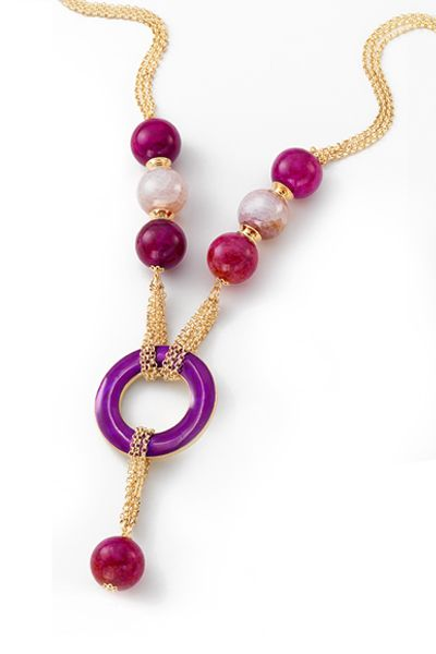 NICE regalos hermosos- Collar de piedras de cristal. Joyeria con 4 baños en oro de 18 kilates.