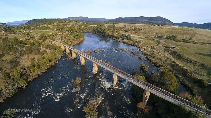 Railway bridge at Hayes, River Derwent, Tasmania.