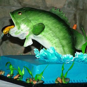 "Groom's Cake. Jumping Bass. The Challenge: Make this cake the catch of the day. Fantastic Flavor: ""Forbidden"" chocolate fudge cake with cheesecake filling"