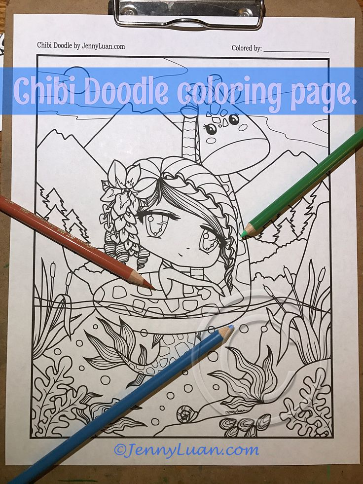 Chibi Doodle Fantasy Giraffe Mermaid Anime Manga Coloring Page For Adult PDF Download By JennyLuanArt