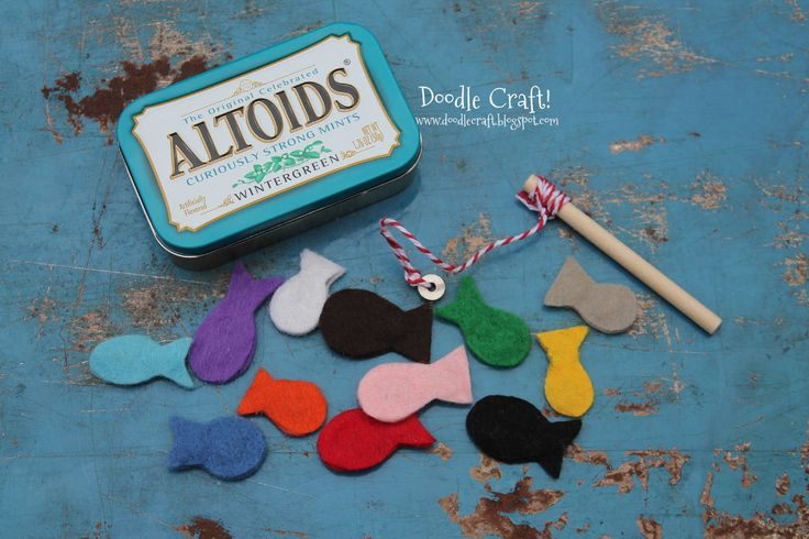 Pocket Sized Magnetic Fishing Set in Altoids tin...fun for dinners out. Good for traveling OT. Cute!