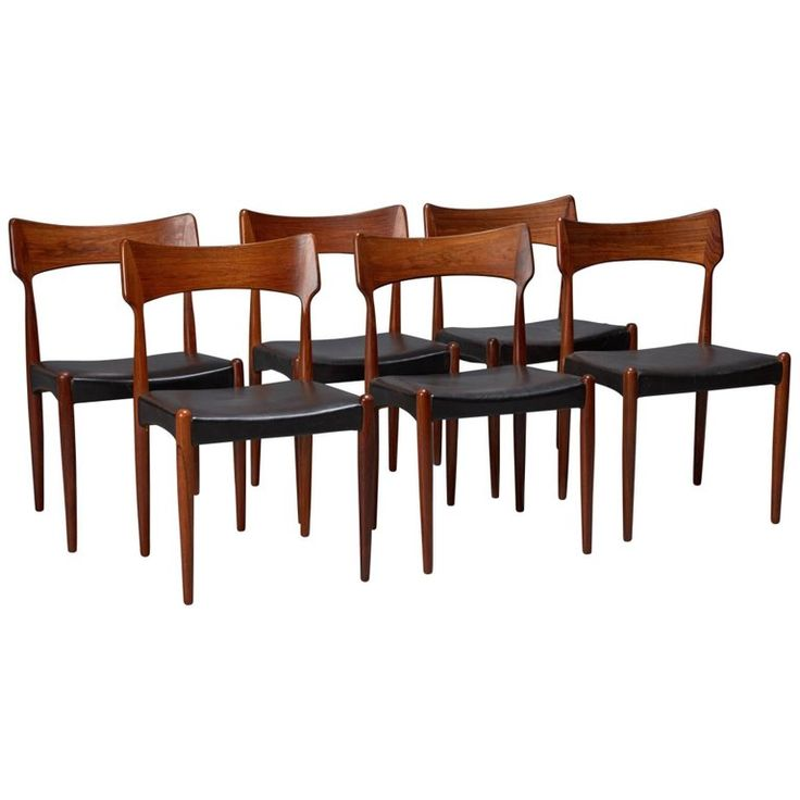 Set of Six Rosewood and Black Leather Dining Chairs by Christian Linneberg | 1stdibs.com