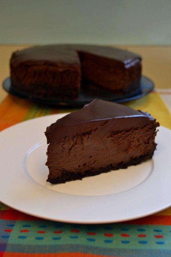 Triple Chocolate Mocha Cheesecake - Triple chocolate sin in a springform pan http://www.packmomma.com/triple-chocolate-mocha-cheesecake/
