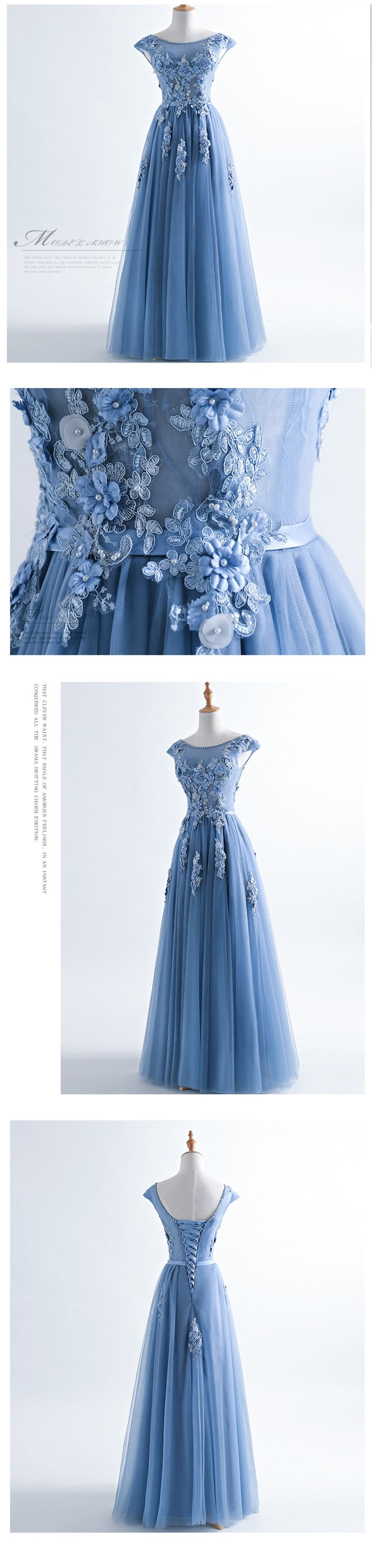 Scoop Neckline Dusty Blue Lace Evening Prom Dresses, 2018 Lace Party Prom Dresses, Cheap Custom Long Evening Party Dresses, 18402
