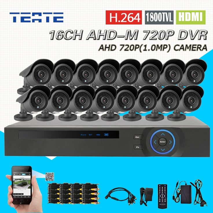 449.98$  Buy here - http://aliexi.worldwells.pw/go.php?t=32785116532 - TEATE 16CH HD AHD-M 720P DVR CCTV Recorder 16pcs AHD 720P Color CMOS IR waterproof outdoor cameras H.264 T-G16D7PB02K04