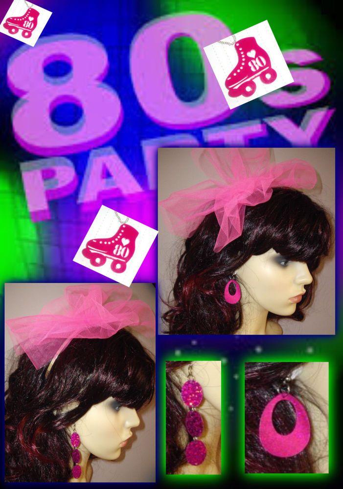 80s Alice Band Headband & Pink Sequin Earrings - 80s Pop Star Fancy Dress