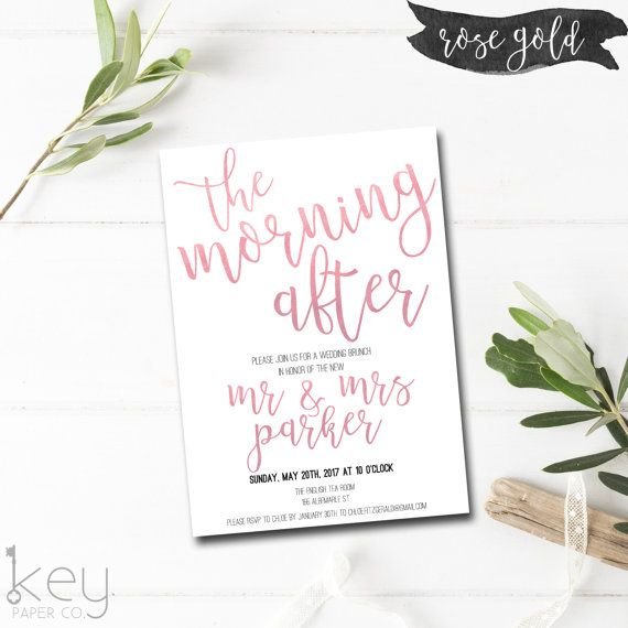 Rose Gold Post Wedding Brunch Invite! The Morning After -  Post Wedding Brunch Invitations for the morning after the best night EVER!
