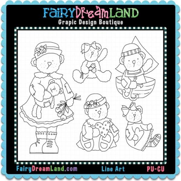 Bears Hodge Podge CU Digital Stamps by FairyDreamLand.com