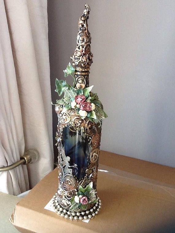 OOAK fantasy  glass fairy bottle light