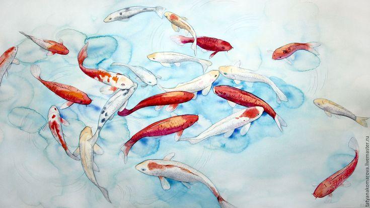 """Купить Картина акварелью """"Загадываем желания"""" - комбинированный, голубой, оранжевый, белый, акварель, кои"""