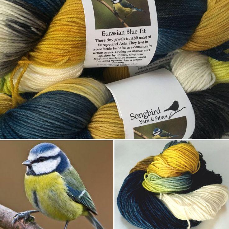 Eurasian Blue Tit on 80/20 sockyarn. Visit songbirdfibres.bigcartel.com