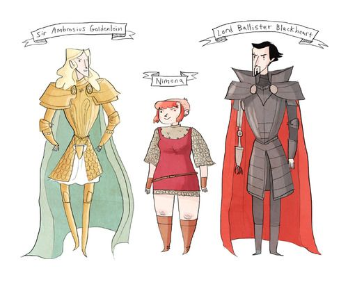 main characters from Nimona by Noelle