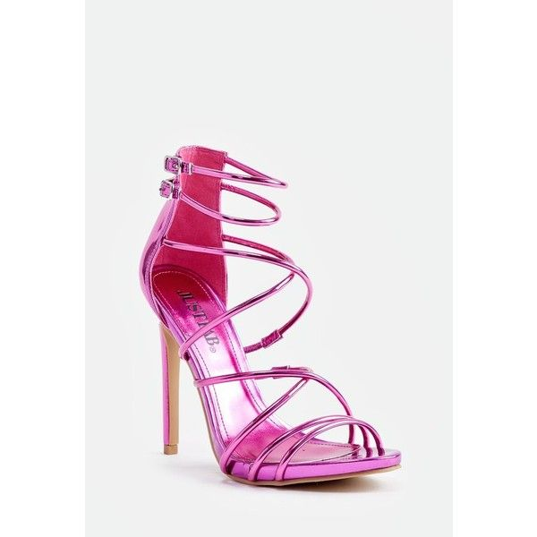 Justfab Heeled Sandals Harlow Heeled Sandal (545 ZAR) ❤ liked on Polyvore featuring shoes, sandals, pink, strappy heeled sandals, heeled sandals, evening sandals, high heel platform shoes and pink shoes