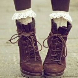 vintage shoes and lace socks