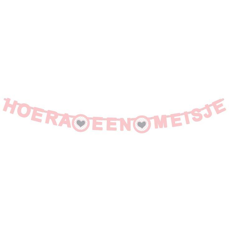 Trotse ouder van een dochter geworden? Breng de kamer in stijl met deze baby-roze Guirlande Hoera een Meisje met hartjes. Afmeting: lengte 166 cm - Letterguirlande - Hoera een Meisje
