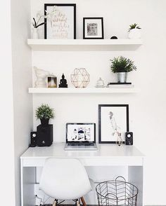 "Workspace Goals on Instagram: ""Starting our feed with this white workspace regram from Hayley @taylor.dbeauty in Australia ☀️ We love the clean, monochrome + copper aesthetic ✨ So bright + light and proves that big things can happen in small spaces Hayley is a beauty vlogger sharing fresh + fun makeup how-to videos with a hidden talent for interior styling Thanks Hayley for sharing your workspace + for being first in our #workspacegoals feed """