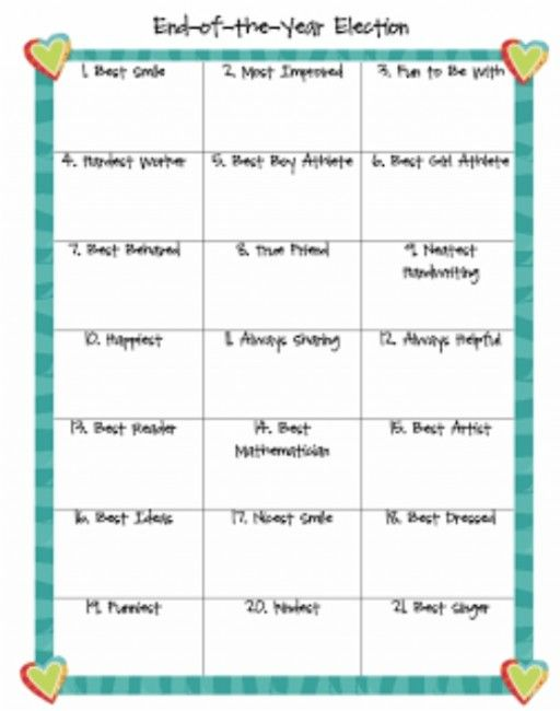 End of the Year Printables