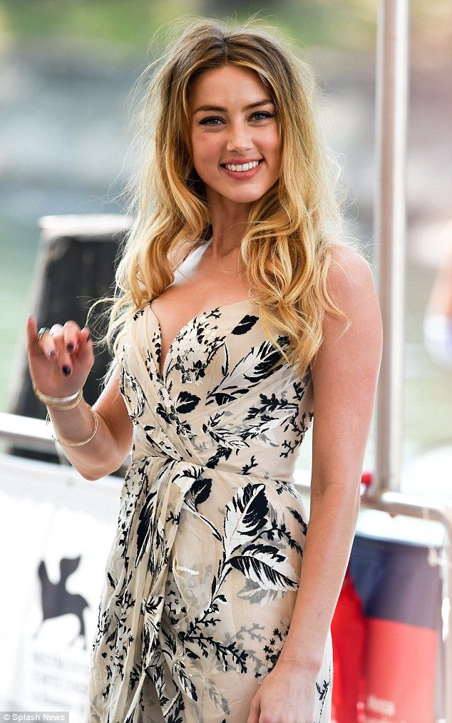 Amber Heard looks stunning in floral dress at Venice Film Festival #dailymail