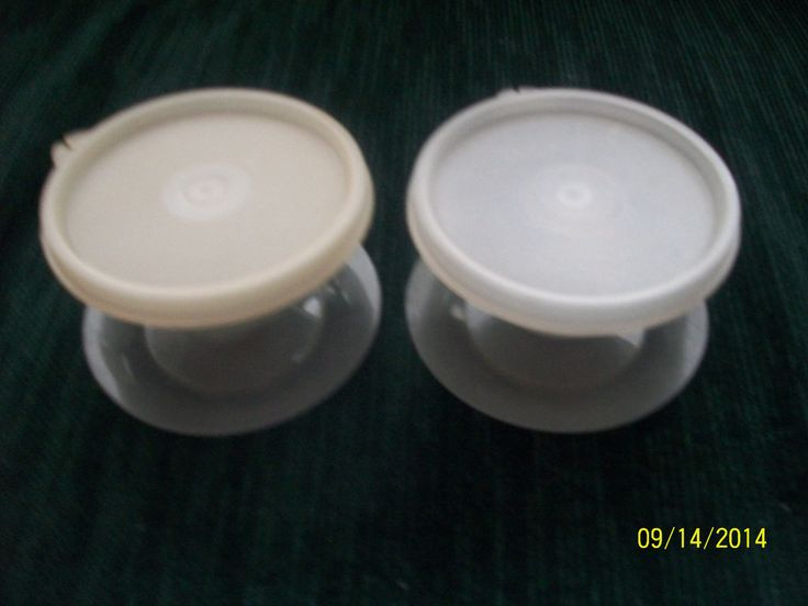 Tupperware set 2 small parfait dishes removable bases smoke/clear