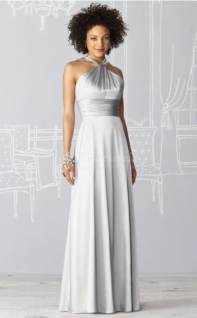 A-line Halter Charmeuse Floor-length Silver Bridesmaid Dresses