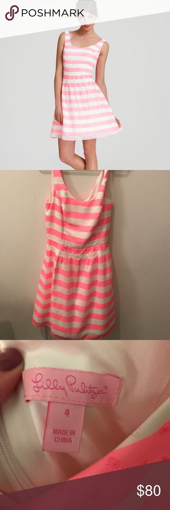 Lilly Pulitzer Pink and White Dress Like new. The pink is a beautiful bright pink. Lilly Pulitzer Dresses Midi