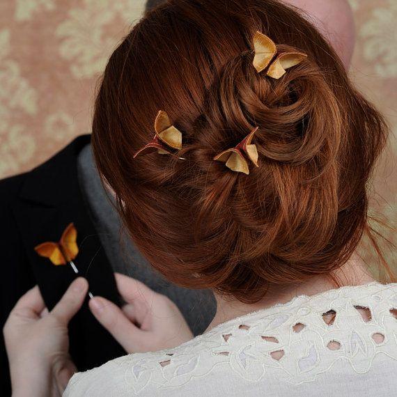 Fall Wedding Hair Pins CUSTOM 3 Silk Origami by SewSmashing, $51.00