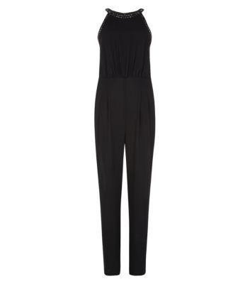 Black Embellished High Neck Jumpsuit