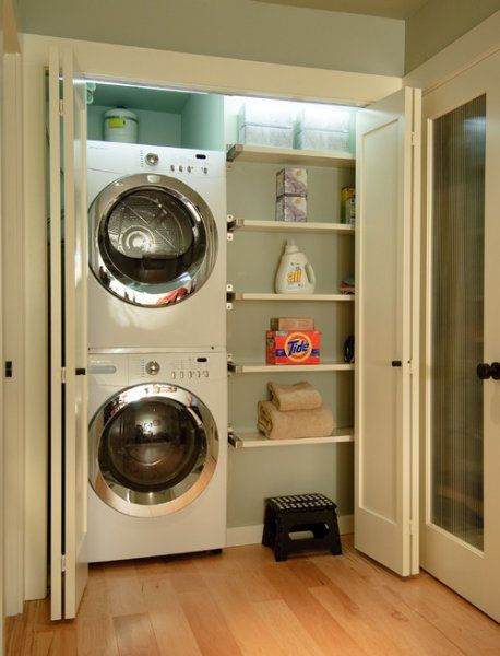 Contemporary Laundry Room with Shelves
