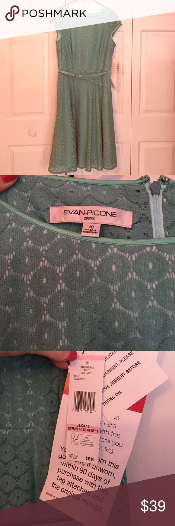 """Evan Picone Mint Lace Dress New With Tags!! ⭐️ Cool mint lace fully-lined, cap sleeved dress with belt around the waist. Zipper and clasp down the back. Also has hanger ribbons. 100% polyester. 38"""" length from neck-line to hem-line. Evan Picone Dresses"""