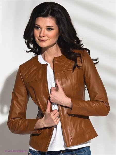 Женская кожанная коричневая куртка