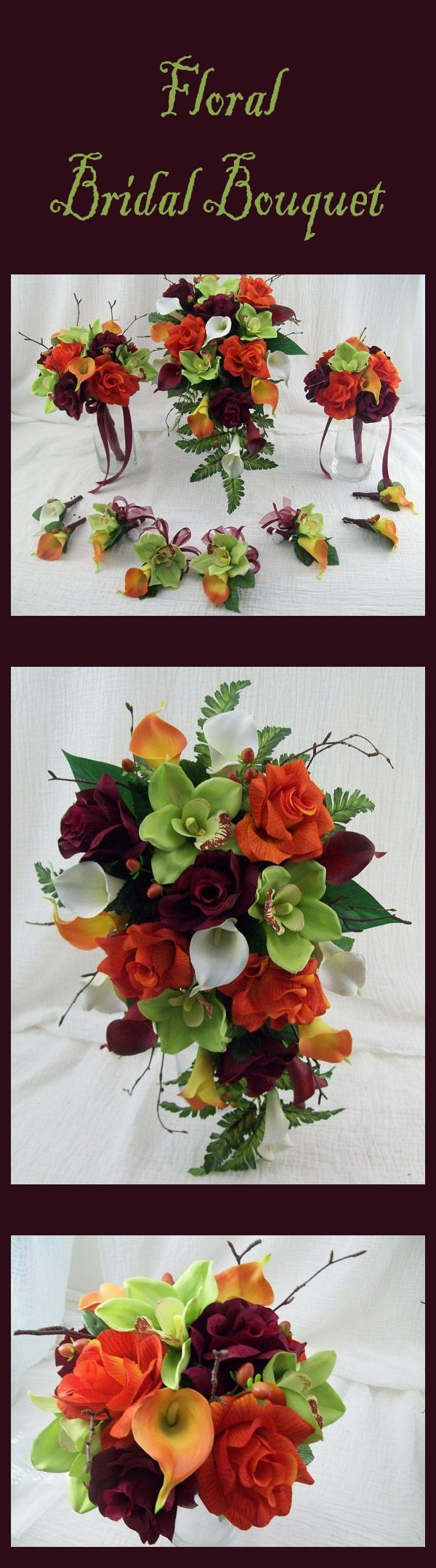 Fall Wedding Flowers Destination Wedding Cascade Bridal Bouquet Orchids Roses and Real Touch Calla lilies Silk Flower Bridal Package #affiliate #ad #fallwedding #weddinginspiration #flowers #bouquet #weddingflowers