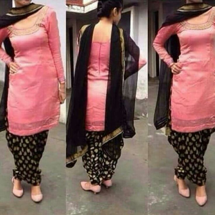 Pink Kurta With Black Patiala And Dupatta. For Details