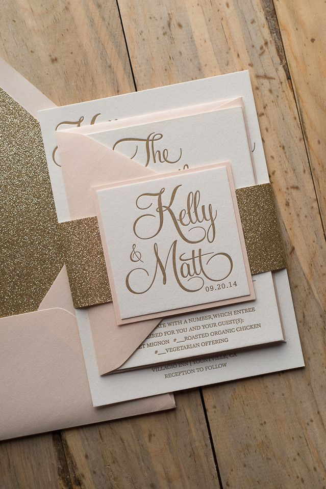 BAILEY Suite Glitter Package, blush and gold, glitter wedding invitations, letterpress wedding invitations, calligraphy invitations