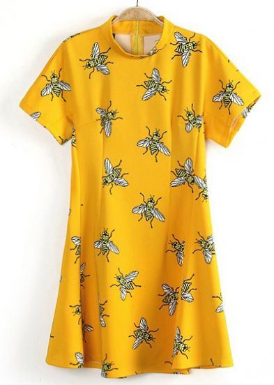 Yellow Short Sleeve Fly Print Flare Dress