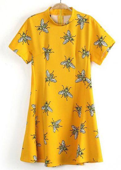 Yellow Short Sleeve Fly Print Flare Dress