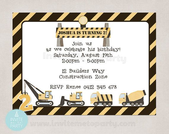 Construction Invitation / Little Digger by InviteMe2Party on Etsy, $12.00