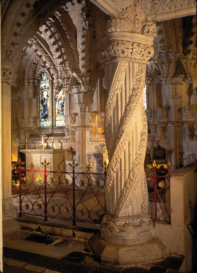 Rosslyn Chapel, formally known as the Collegiate Chapel of St Matthew, is a 15th-century chapel located at the village of Roslin, Midlothian, Scotland.