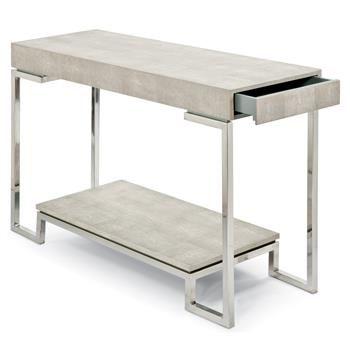 Millicent Coastal Beach Ivory Grey Shagreen Silver Console Table. #kathykuohome #table #CoastalBeach